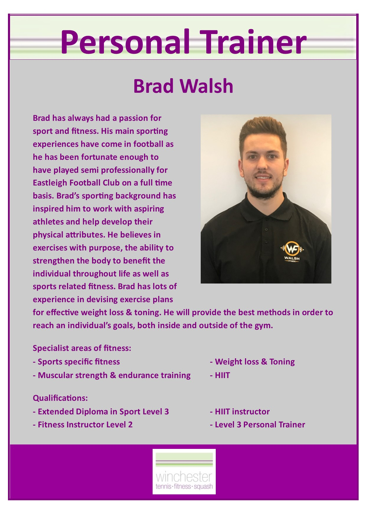 fitness profile brad walsh tom smith